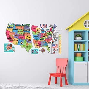 Map of The USA Adhesive Wall Decals - JesPlay Wall Décor Stickers for Kids & Toddlers Include United States Map and Country - Removable Wall Decor for Bedroom, Living Room, Nursery, Classroom