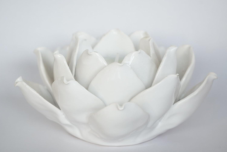 Amazon ceramic lotus style flower tea light holder white amazon ceramic lotus style flower tea light holder white home kitchen izmirmasajfo