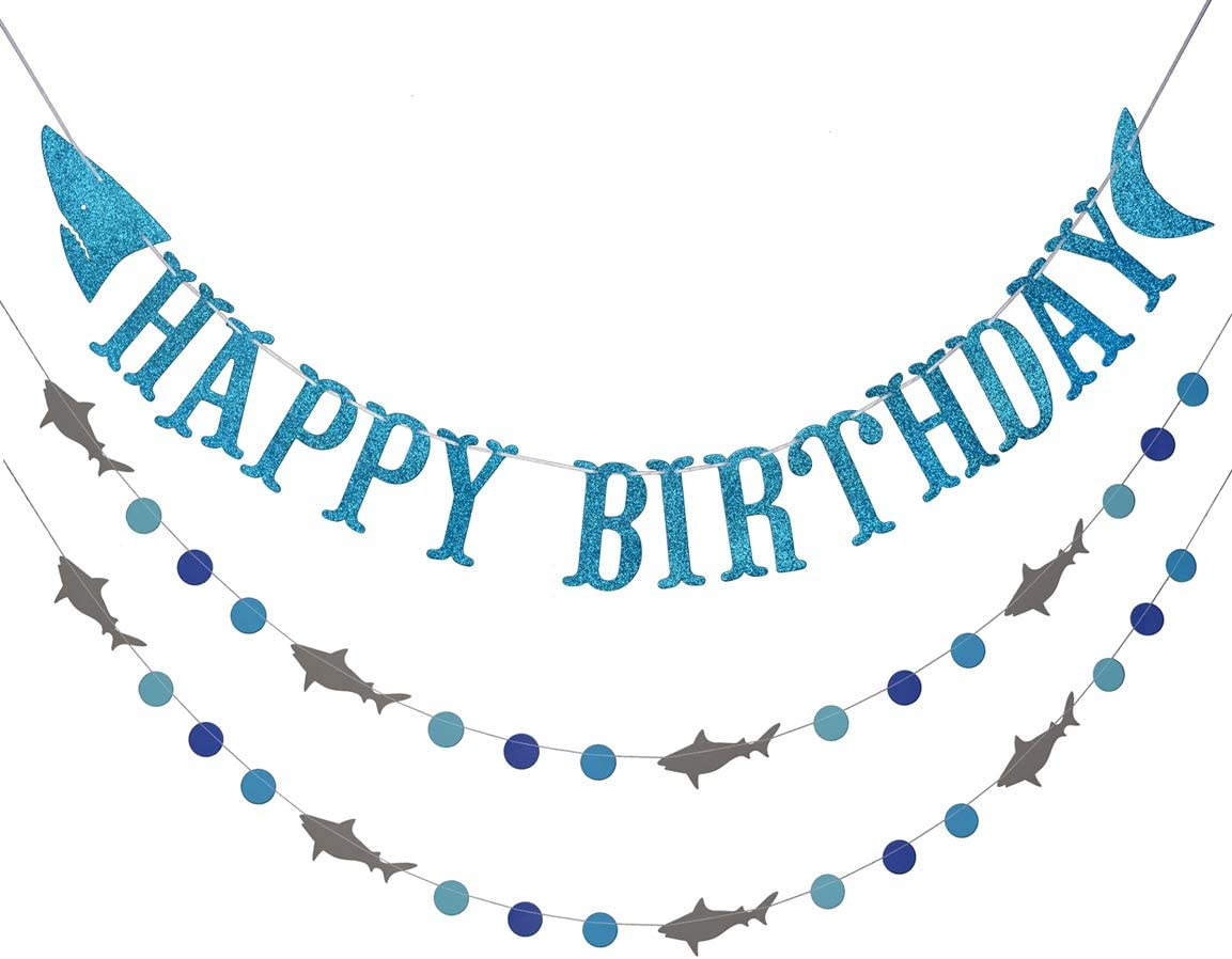 Shark Happy Birthday Banner and Shark Garland, Ocean Beach Under The Sea Theme Party Supplies (Blue)