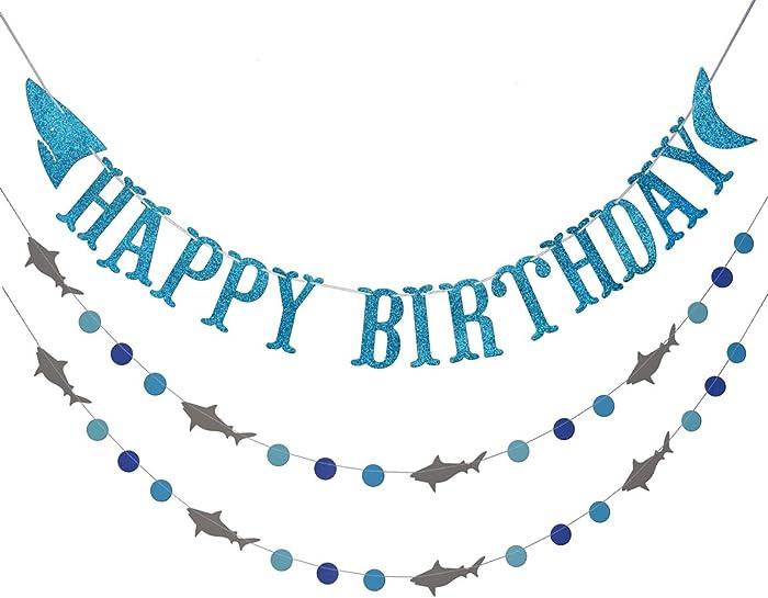 Shark Happy Birthday Banner and Shark Garland, Ocean Beach Under The Sea Theme Party Supplies (Blue)