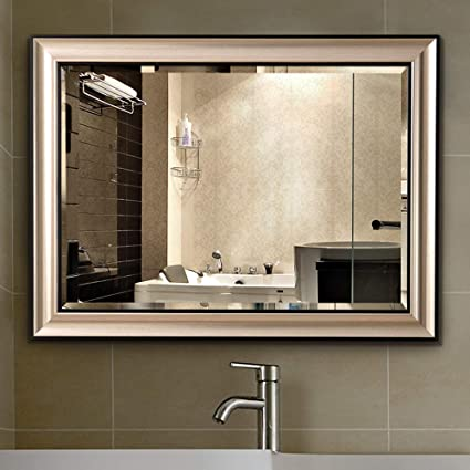 Amazon Com Linsgroup Vanity Bathroom Home Office Modern Champagne Frame Mirror Hanged Two Way Wall Mirror 32 X24 Frame Mirror Home Kitchen