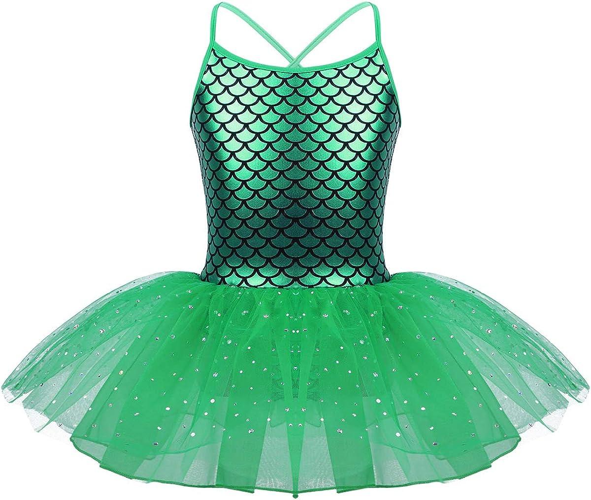 Freebily M/ädchen Festliches Kleid Meerjungfrau Kost/üm Ballett Tutu Kleid Balletkleid Gl/änzend Balletttrikot mit Rock Tanzkleid Ballettanzug Ballett Outfit