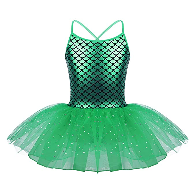 b86227c1ab Amazon.com: inlzdz Kids Baby Girls Mermaid Princess Costume Fish Scale  Camisole Sequins Tutu Skirts Gymnastics Ballet Activewear: Clothing