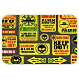 VROSELV Custom Door MatOuter Space Decor Warning Ufo Signwith Alien FaceHeadGalactic Paranormal Activity Design Yellow