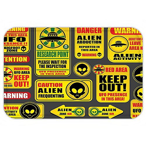 VROSELV Custom Door MatOuter Space Decor Warning Ufo Signwith Alien FaceHeadGalactic Paranormal Activity Design Yellow by VROSELV