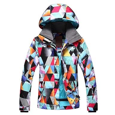 RIUIYELE Fashion Women s Ski Bib Suit Jacket Waterproof Snowboard Colorful  Printed Ski Jacket and Pants Set afa4fbd54