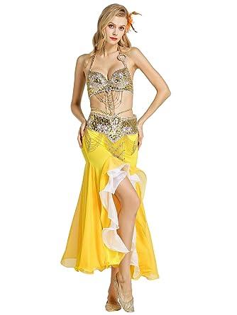 Zengbang Mujer Ropa para Practicar Baile Sujetador Faldas de Danza Oriental Danza del Vientre Traje
