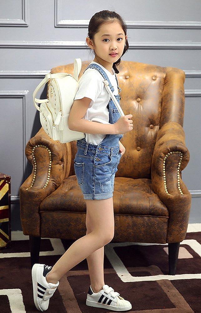 Sitmptol Girls Little Big Kids Distressed BF Jeans Cotton Suspender Denim Bib Overalls 1P