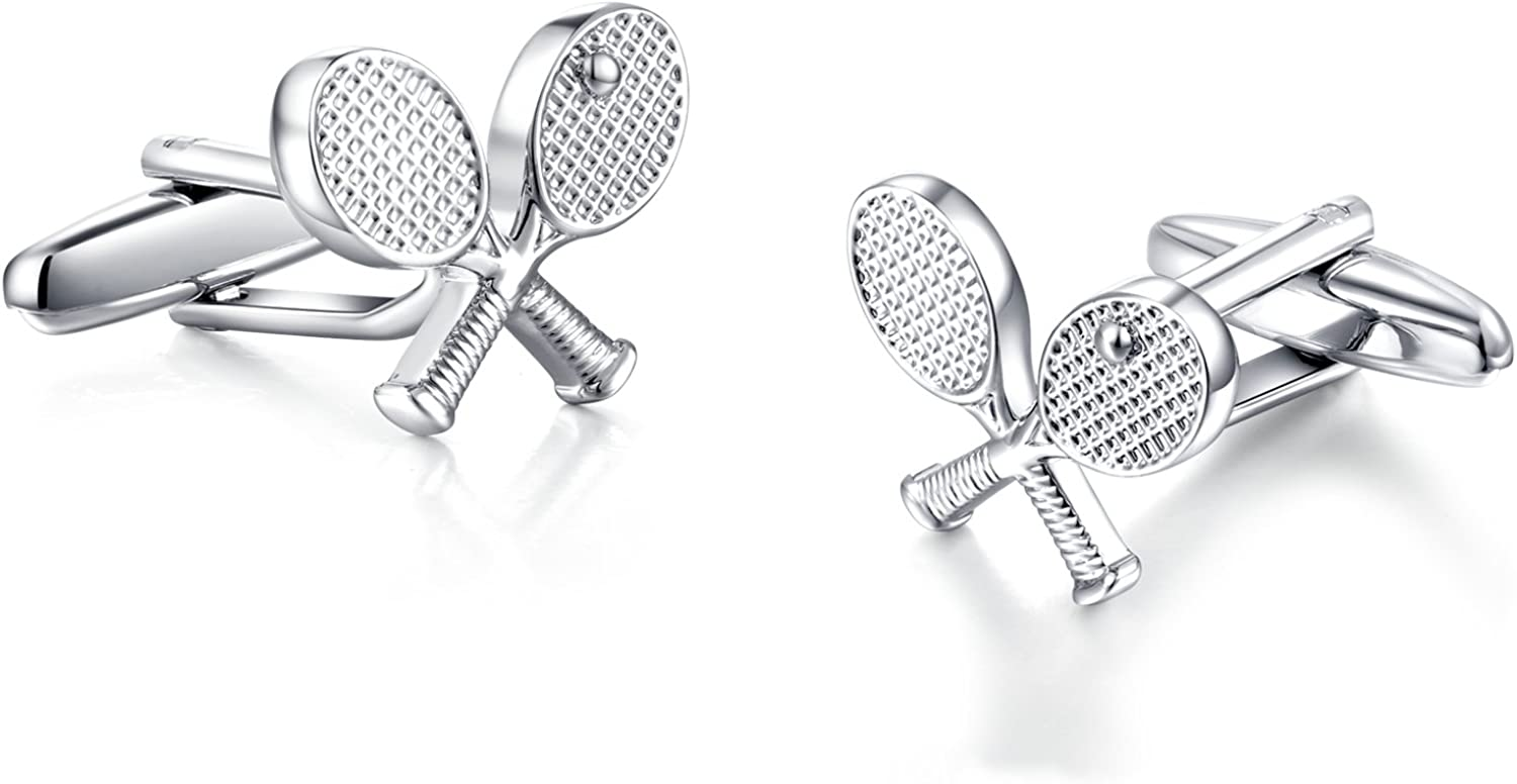 HONEY BEAR Tennis Racquet Silver Sport Cufflinks for Mens Shirt Wedding Gift
