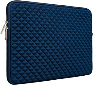 """RAINYEAR 14 Inch Laptop Sleeve Diamond Foam Shock Resistant Neoprene Padded Case Fluffy Lining Zipper Cover Bag Compatible with 14"""" Notebook Computer Chromebook Tablet Ultrabook(Navy Blue)"""
