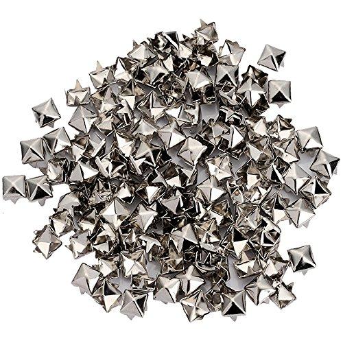 200pcs Punk Colors Metal Square Pyramid Rivet Cone Studs Nailhead Craft Spike DIY (6mm, Silver) ()
