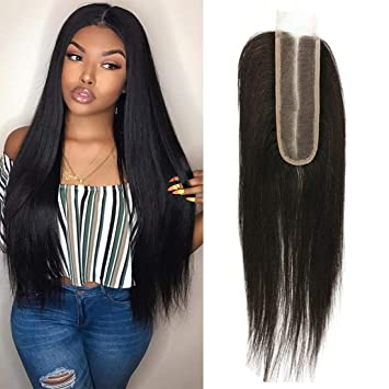 2x6 Lace Closure Human Hair Straight Wave Brazilian Virgin Remy Hair Deep Middle Part Closure With