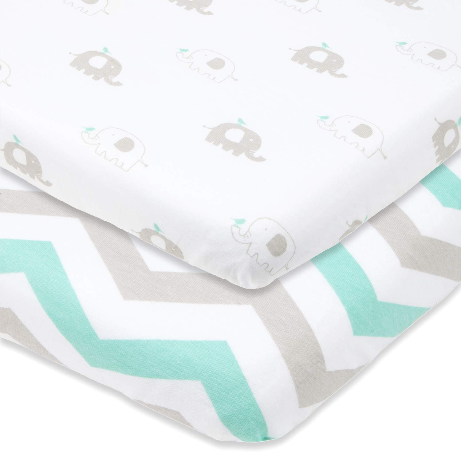 Cuddly Cubs Pack n Play Playard Sheets - Set of 2 Jersey Cotton Fitted Sheets for Mini/Portable Crib Mattress - Gray and Mint with Chevron & Baby Elephants - TOP QUALITY Nursery Bedding for Boy/Girl CC2438MINT