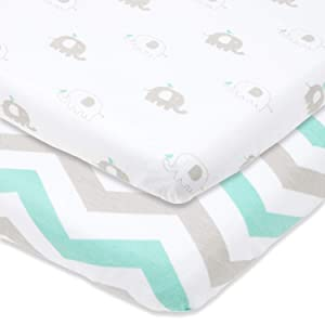 """Travel Lite Crib Sheets Compatible with Graco Travel Lite Crib with Stages – Fits Perfectly on 20"""" x 30"""" Mattress Without Bunching Up – Snuggly Soft Jersey Cotton –Grey, Mint – 2 Pack"""
