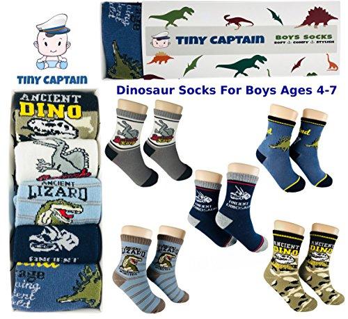 Tiny Captain Boy Dinosaur Socks 4-7 Year Old Boys Crew Cotton Sock Perfect Age 5 Gift Set (Medium, Green And Grey) by Tiny Captain (Image #2)