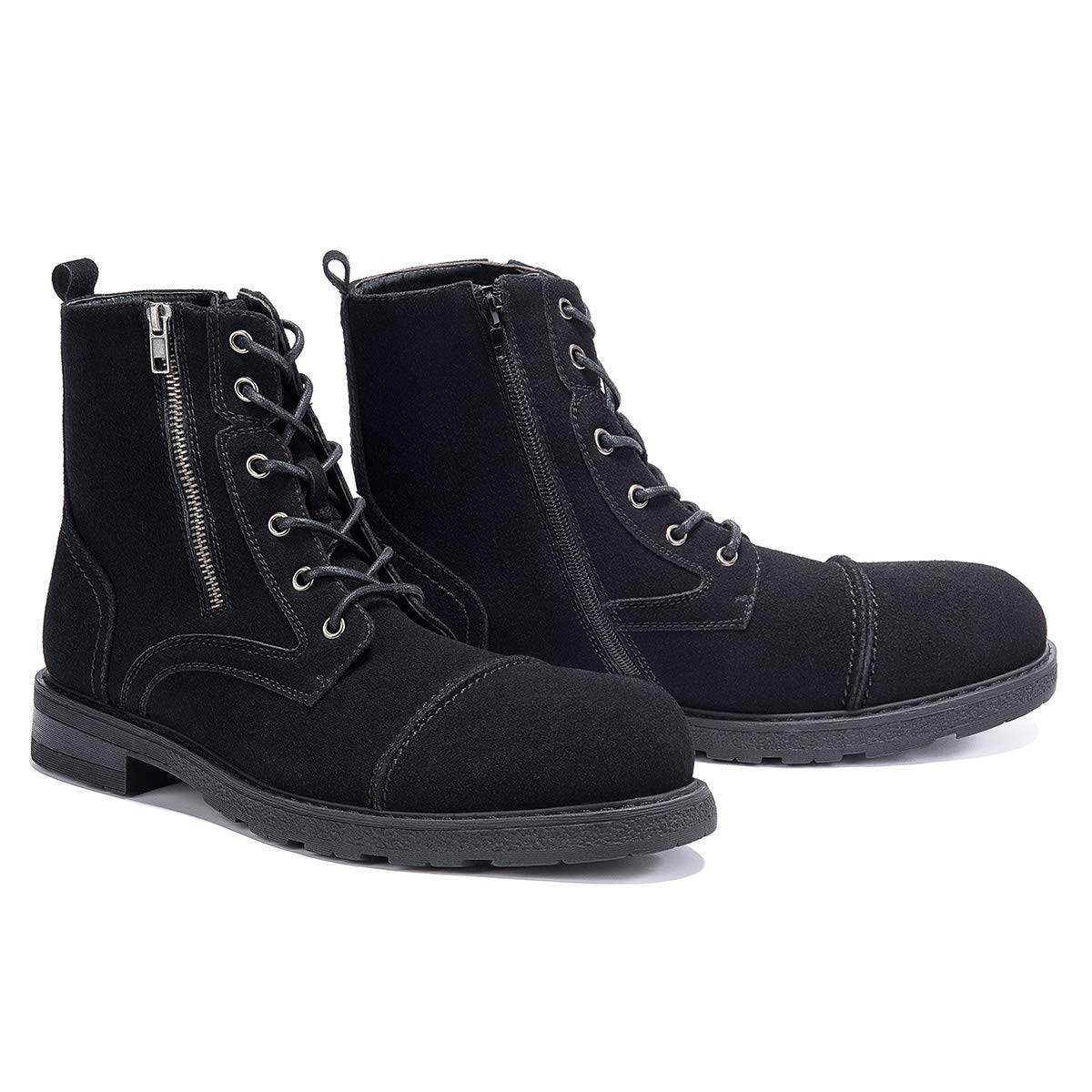 GM GOLAIMAN Men's Combat Boots-Suede Boots Adjustable Lace Up Zip Cap Toe for Work Hiking Motorcycle Military Tactical black-12 by GM GOLAIMAN