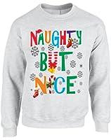 Allntrends Adult Sweatshirt Naughty But Nice Cute Xmas Shirt Funny Gift
