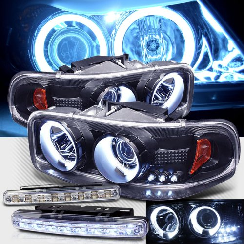 - 1999-2006 GMC YUKON DENALI CCFL HALO PROJECTOR HEADLIGHTS + LED FOG BUMPER LAMPS