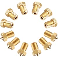 Nrpfell 3D Printer Nozzle, 12Pcs M6 0.4MM Brass Extruder Print Head for Makerbot 3D Printers
