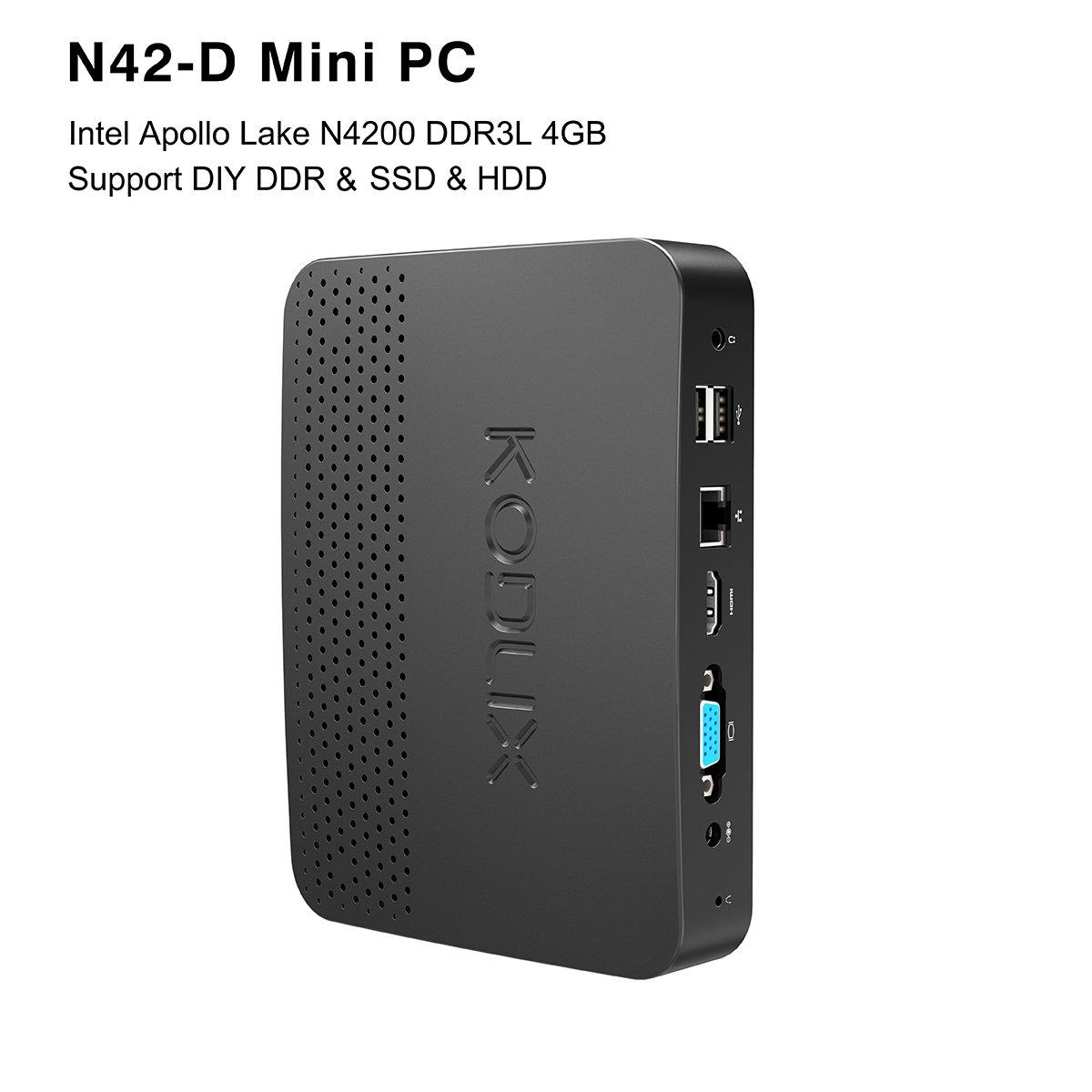 KODLIX N42-D Fanless Mini PC, Intel Pentium Apollo Lake N4200 (up to 2.5 GHz) Windows 10 Pro 64-Bit /4GB Ram Installed (Expandable DDR Via 2xSODIMM, Max 8GBx2)/SSD&HDD Slot/Gigabit Ethernet/USB-C/NAS
