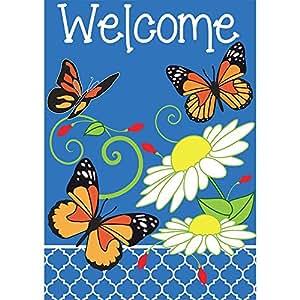 Welcome Monarch mariposas Trio 18x 13rectangular doble Applique pequeño jardín bandera