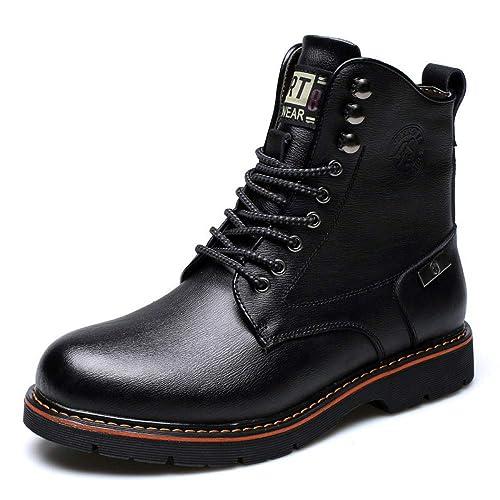 Zapatos De Cuero para Hombre Botas Altas Botines con ...