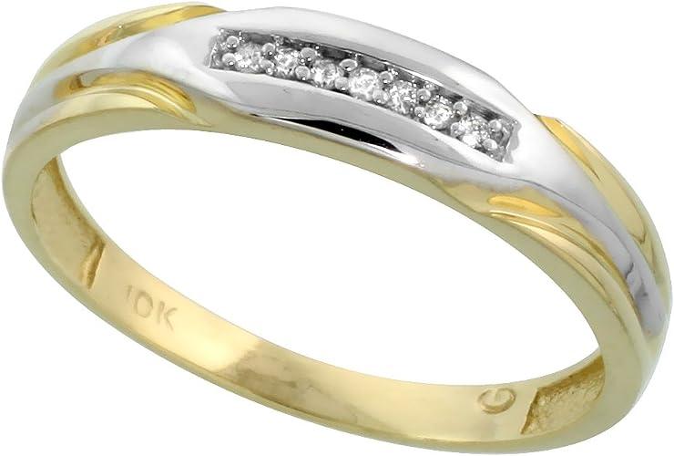 w// 0.04 Carat Brilliant Cut Diamonds 5mm wide 3//16 in. Sterling Silver Mens Diamond Band Size 9