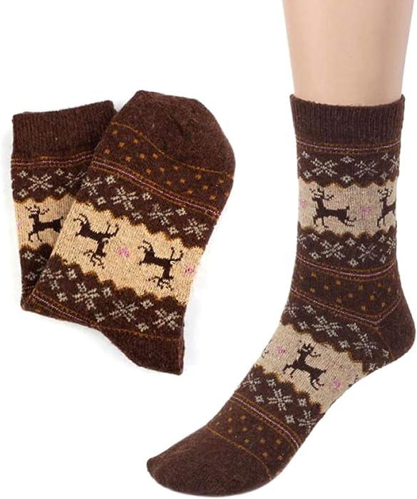 SMARTRICH Calcetines de invierno para mujer, punto grueso de lana, grueso y cálido, suave (talla única)