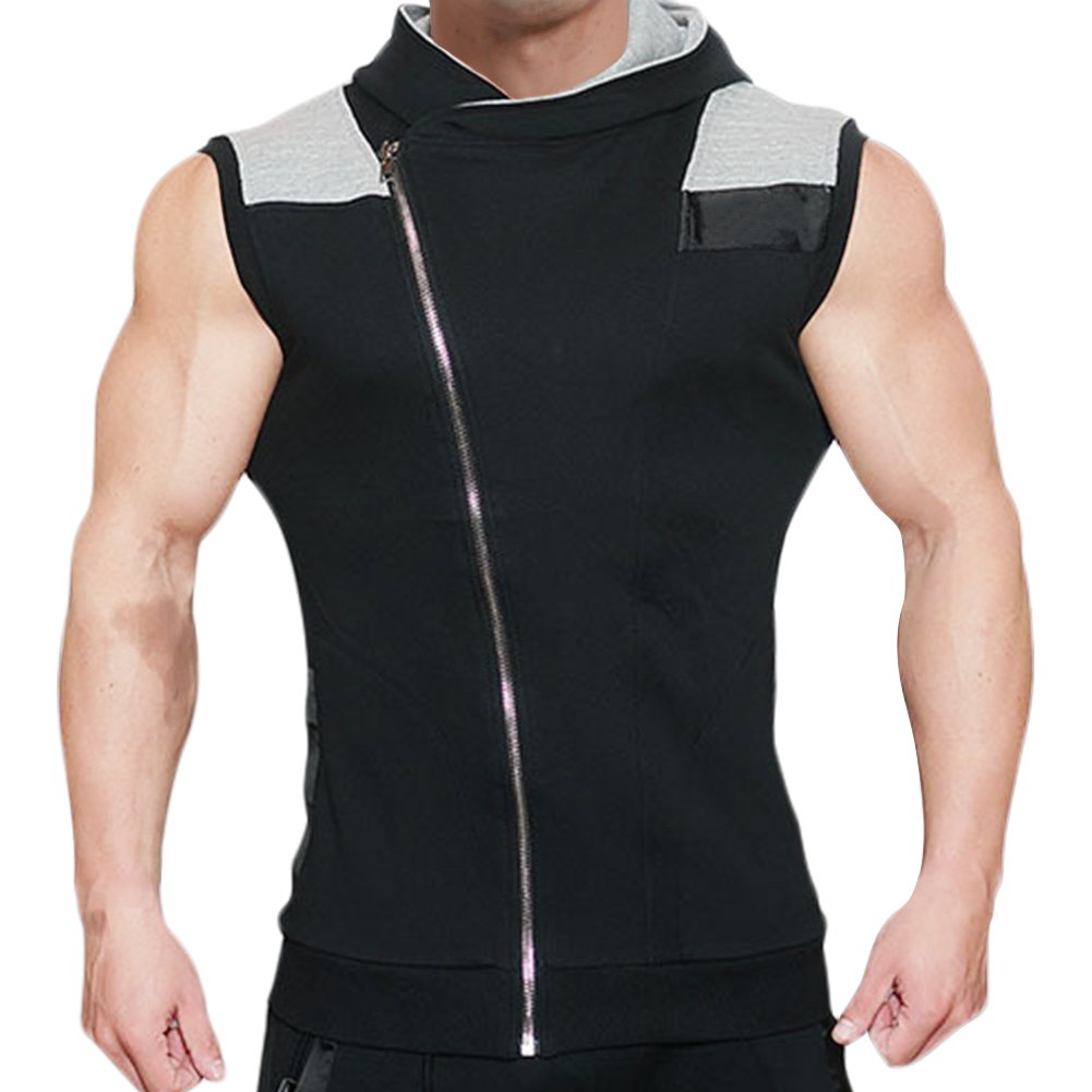 Mech-Eng Men's Workout Gym Sleeveless Hoodie Bodybuilding Muscle Vest 7334