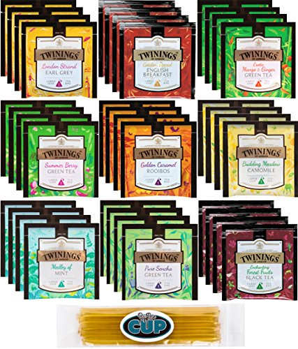 Twinings Large Leaf Hot Tea Sampler Bag Gift Pack 36 Ct - 9 Flavor Variety Includes Green, Black, Herbal, Earl Grey, English Breakfast, Camomile and More with By The Cup - Rooibos Tea Twining