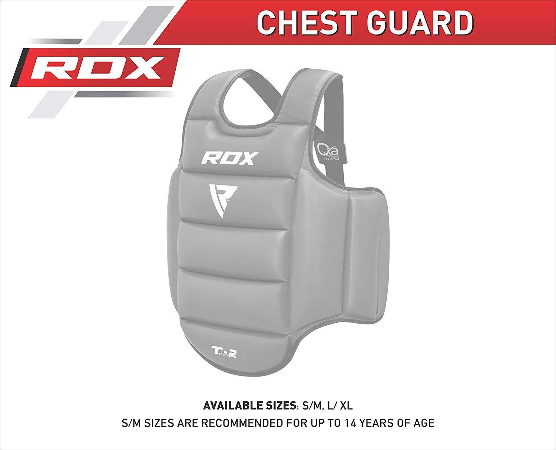 Reversible RDX TKD Protecci/ón De Cuerpo MMA Boxeo Vientre para Pecho Peto Taekwondo