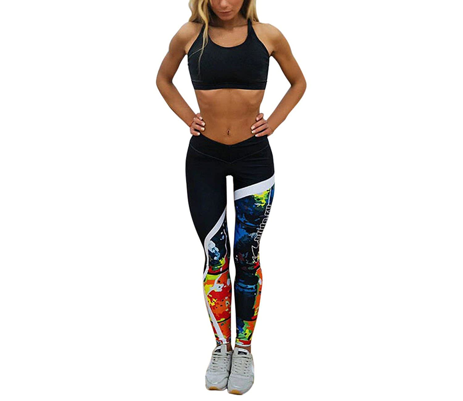 Small-shop Women Letter Printed Skinny Fitness Stretchy Yo ...