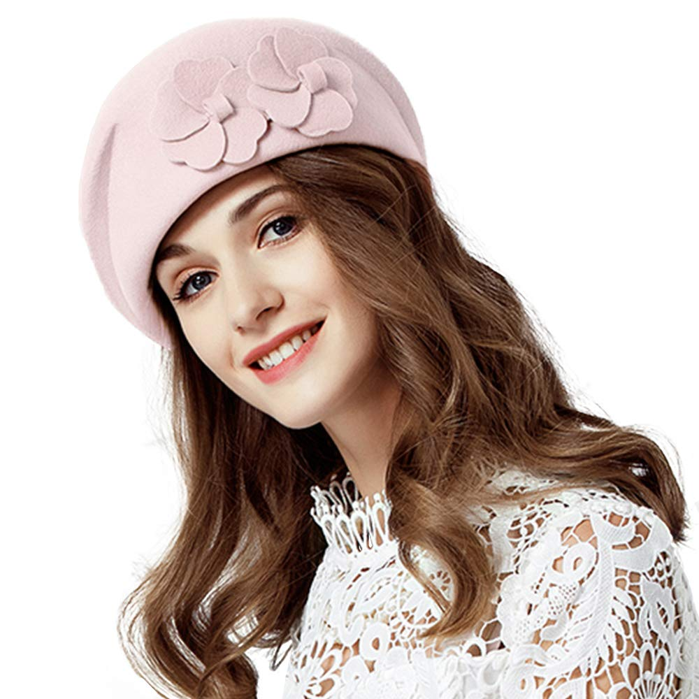 Lady Wool French Wool Bowknot Beret Hat Beanie Pillbox Cap Autumn Winter Vintage Fascinators (Pink) by FADVES