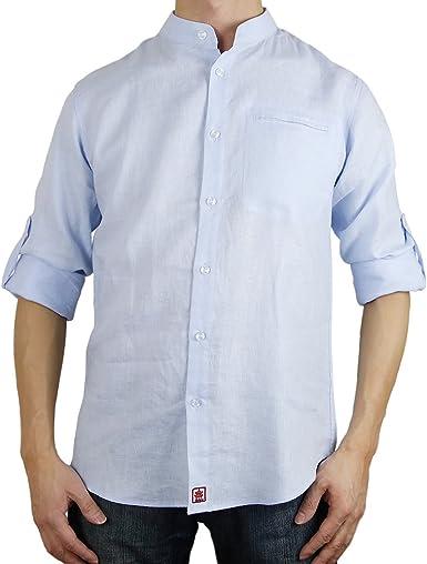 Camisa de cuello mao con botones de lino, azul cielo azul celeste XL: Amazon.es: Ropa y accesorios