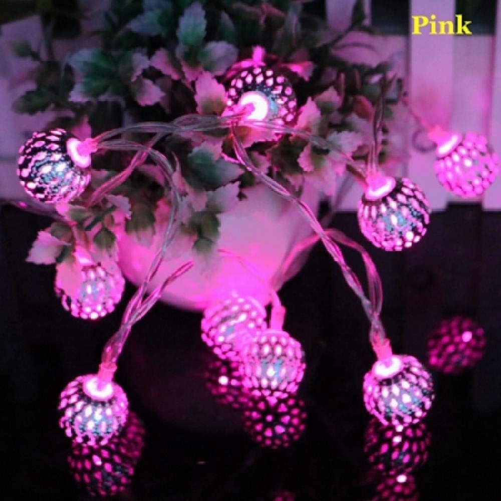 GFSDDS Luces De Navidad Luces De Cadena Led De Bola De Hierro Hueca Pequeña Luces De Decoración De Guirnaldas De Navidad Para El Hogar, Rosa, 1.2M 10Leds