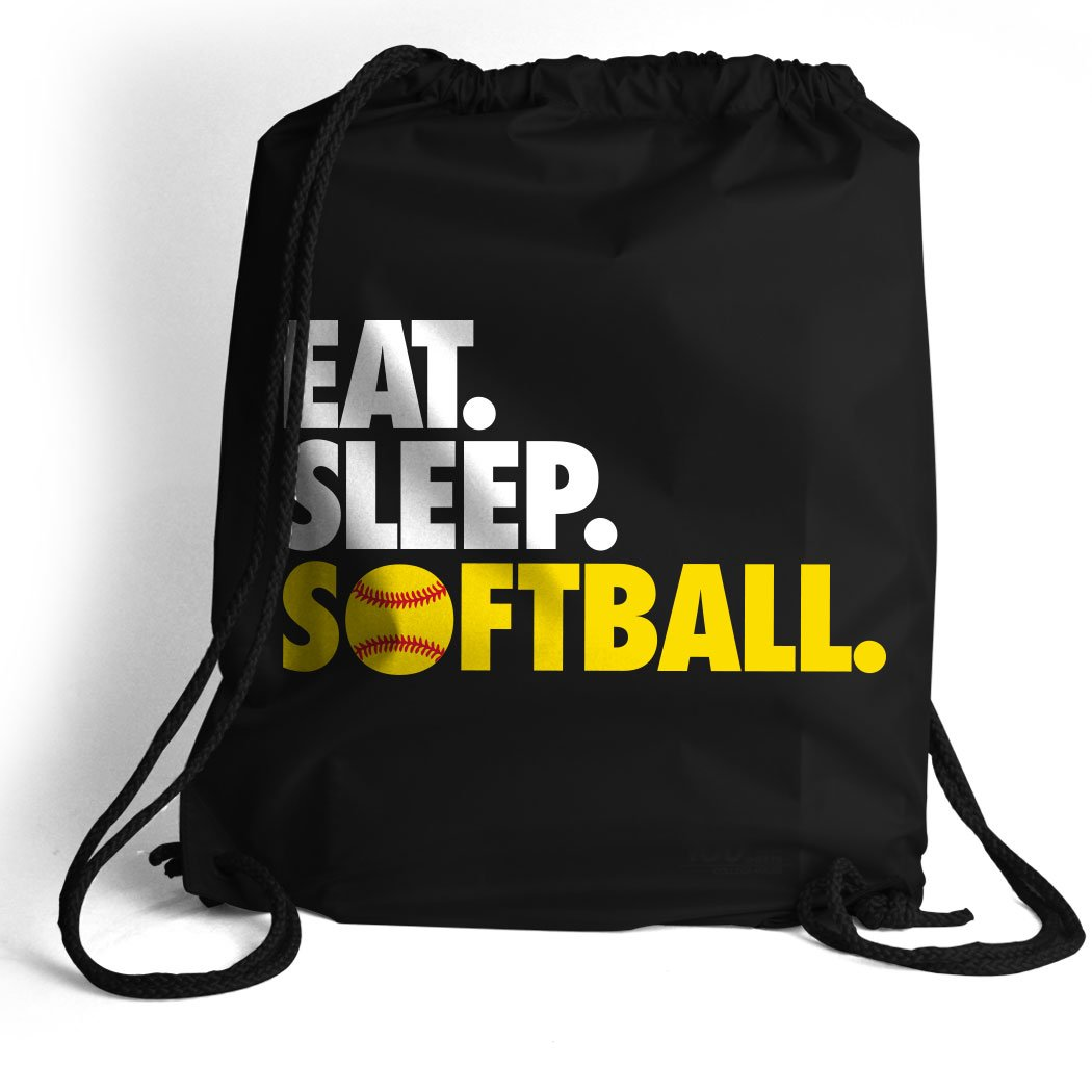 Eat. Sleep. Softball. Cinch Sack | Softball Bags by ChalkTalk SPORTS | Black