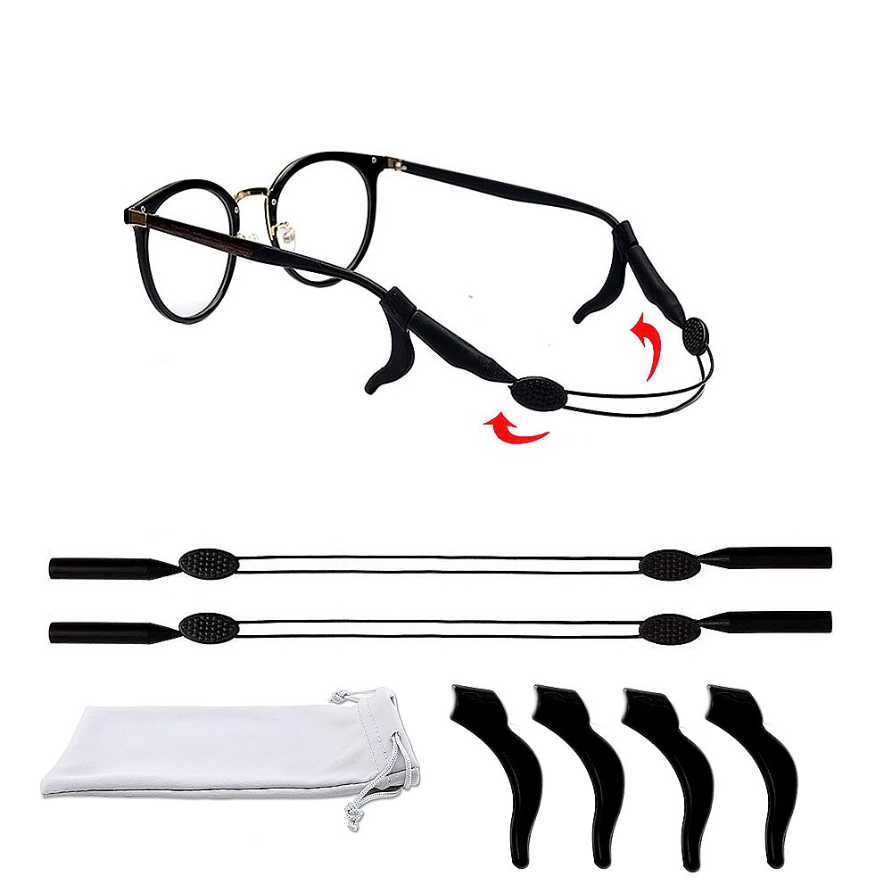 2 Pcs Eyewear Retainer With 4 Pcs Glasses Temple Tip, Adjustable Eyewear Strap for for Kids Men Women Sport Sunglasses, Glasses Cleaning Cloth and Pouch for Free (7.08-9.84inch)