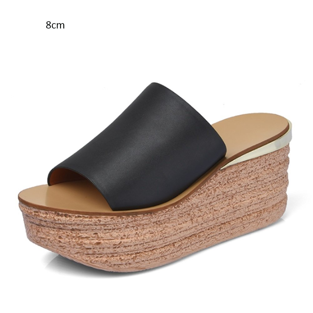 46b2c5f8c Thick Slopes with Slippers Female Summer Cool Slippers Female High Heel Anti -Skid Flat Bottom Sandals (2 Colors Optional) (Size Optional)   Amazon.co.uk  ...