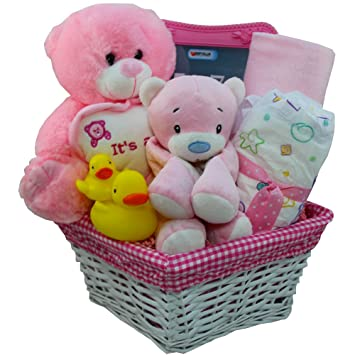 Art of appreciation gift baskets its a girl new baby gift basket art of appreciation gift baskets its a girl new baby gift basket with teddy bear negle