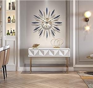 Fengfeng 3D Metal Wall Clock, Sunburst Decor Silent Clocks, Large Living Room Wall Watches Silent Non Ticking Modern Quartz Decoration Clock,30inch