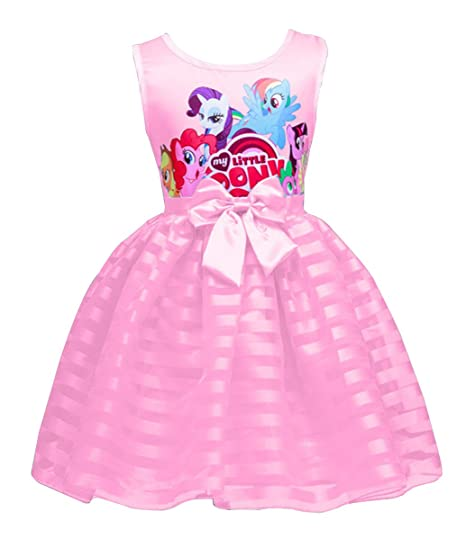 e0a8352a8 LEMONBABY Summer My Little Pony Sleeveless Princess Casual Lace Dress  (4-5Y, PINK