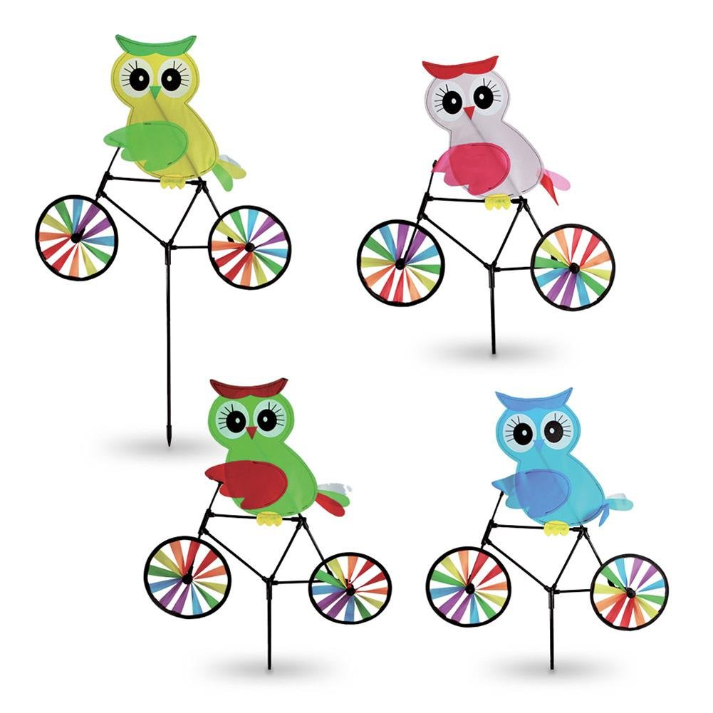 16 x Windrad Eule auf Fahrrad Fahrradwindrad Eulenwindrad Windräder sortiert 85 x 50cm