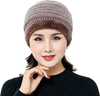 77a1d6c84a4 Ababalaya Women s Winter Warm Faux Rabbit Fur Knit Slouchy Cap Wool Beanie  Skull Cap