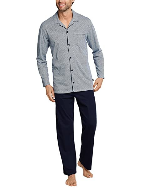 Schiesser Pyjama Lang, Conjuntos de Pijama para Hombre, Azul (Dunkelblau 803),