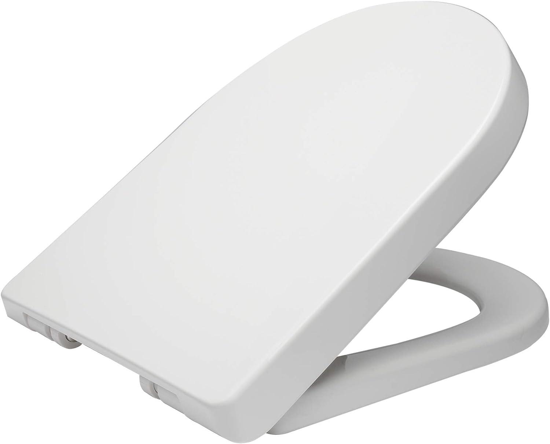 WOLTU WS2544-Tapa de Inodoro automático, plástico, fijación rápida, bisagra de Cierre Suave, antibacteriana, Blanco, 45x36 cm
