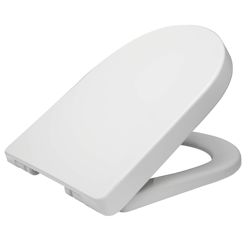 WOLTU WS2544 Abattant WC plastique,Couvercle de WC softclose,Siè ge de toilette Fast Fix/fixation,charniè re, antibacté rienne,Blanc Siège de toilette Fast Fix/fixation charnière antibactérienne