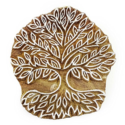 Wooden Printing Block Tree Art Hand Carved Pottery Printer Indian Stamp
