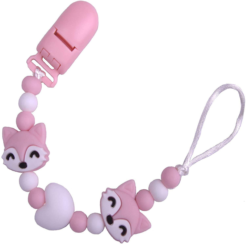 Universal Ohne Namen Rosa Silikon-Perlen Bunt Eckig mit Clip PREMYO Baby Schnullerkette M/ädchen Pinguin