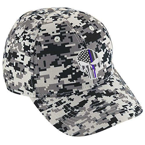 (Project Thin Line Thin Blue Line Skull Police Police Law Enforcement Punisher Digital Camo Baseball Hat Cap)
