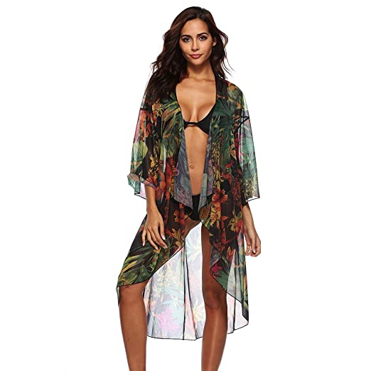 a4d123a5d54c Image Unavailable. Image not available for. Color: Women's Long Kimono  Cardigan Chiffon Cover Ups for Swimwear Floral Print Beachwear Maxi Dresses  Outwear